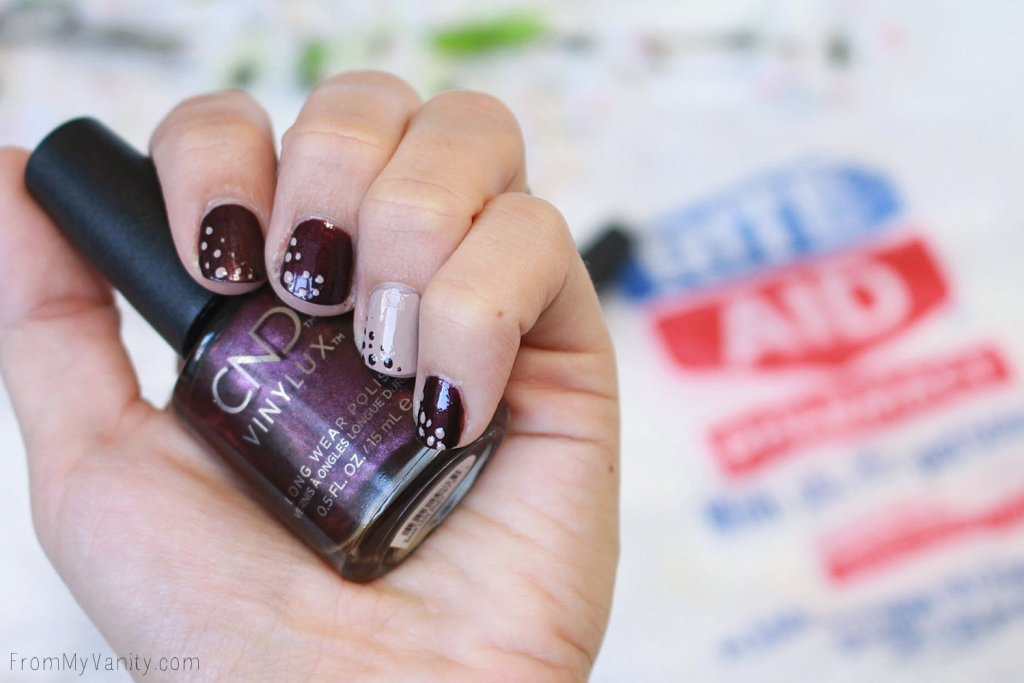 Fall Nail Art Tutorial for Short Nails with CND VinyLux