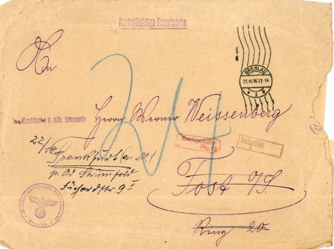 21 October 1936, envelope front