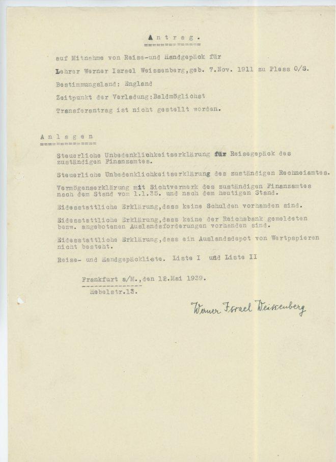 12th May 1939, Antrag