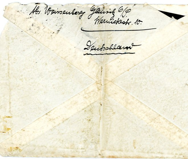 27th August 1939, Envelope, reverse