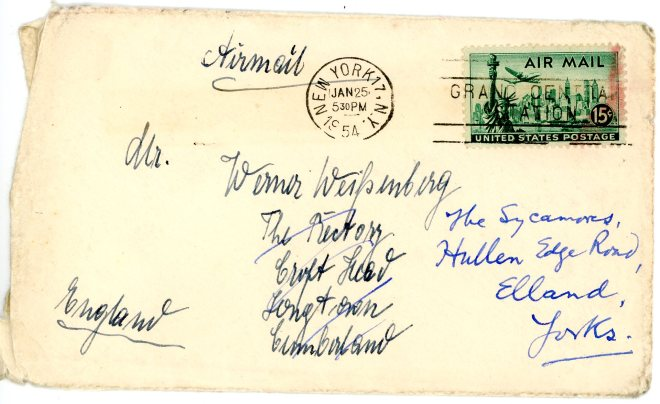 24th January 1954, envelope, showing change of address in UK
