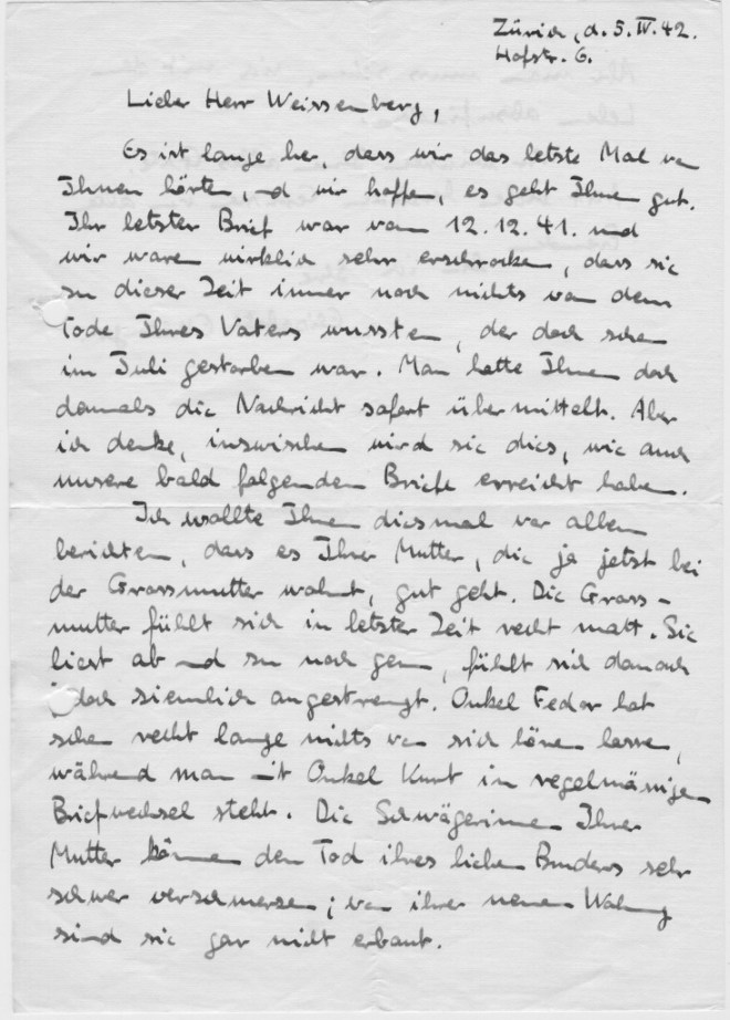 Zurich, 5th April 1942: page 1 From E Ettlinger
