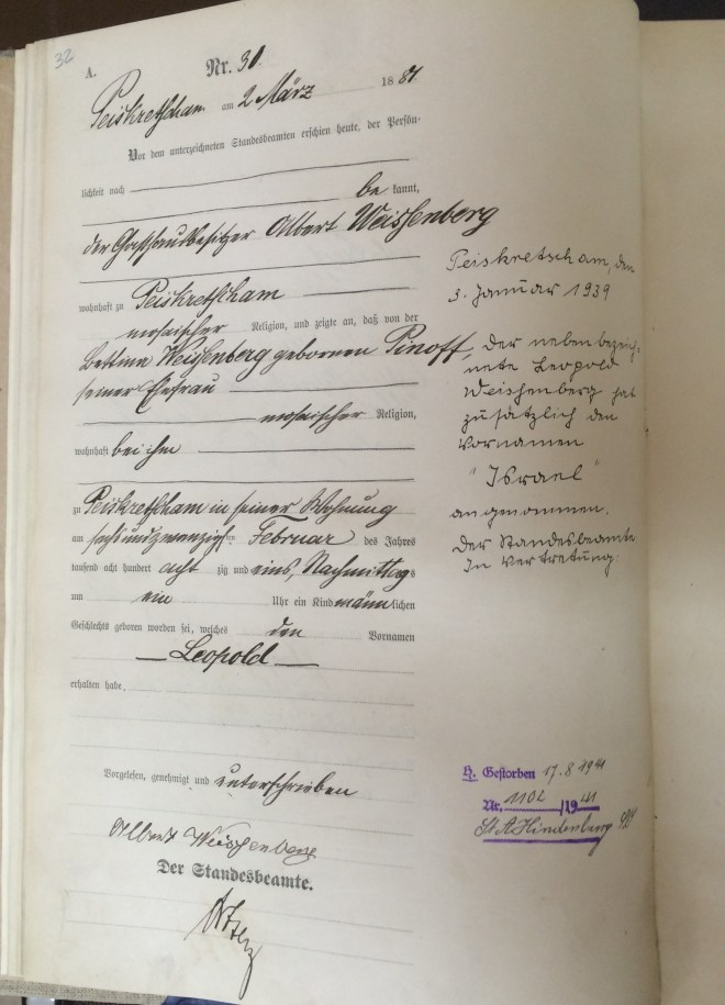 Leopold Weissenberg birth certificate, 1881