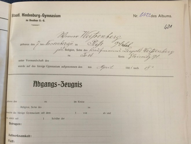 Beuthen Hindenburg Gymnasium: school report, form