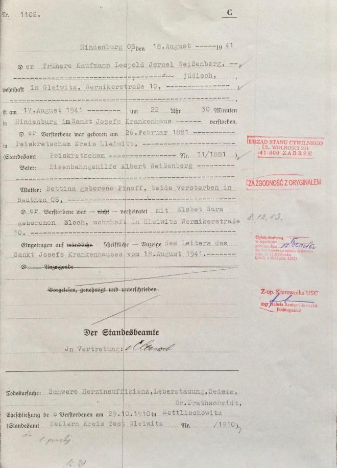 Leopold Weissenberg: death certificate