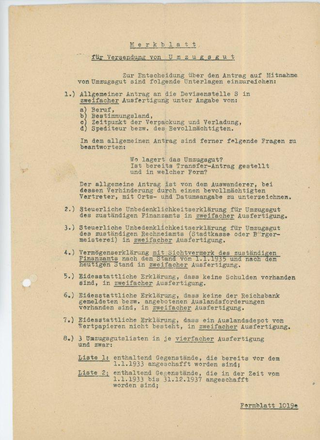 Merkblatt, page one
