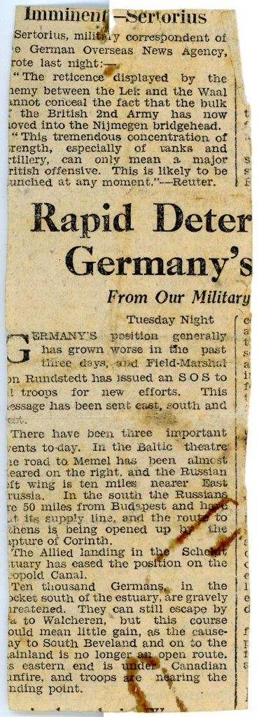 Refugees Newspaper clipping.reverse