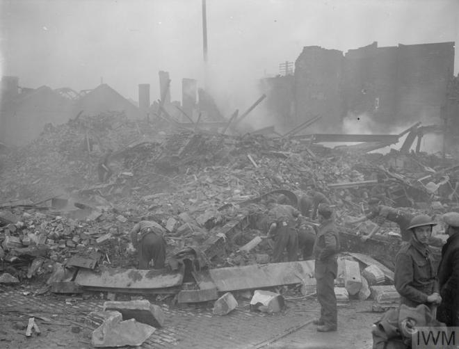 The Pioneers help to clear bomb damage in Coventry, 1940