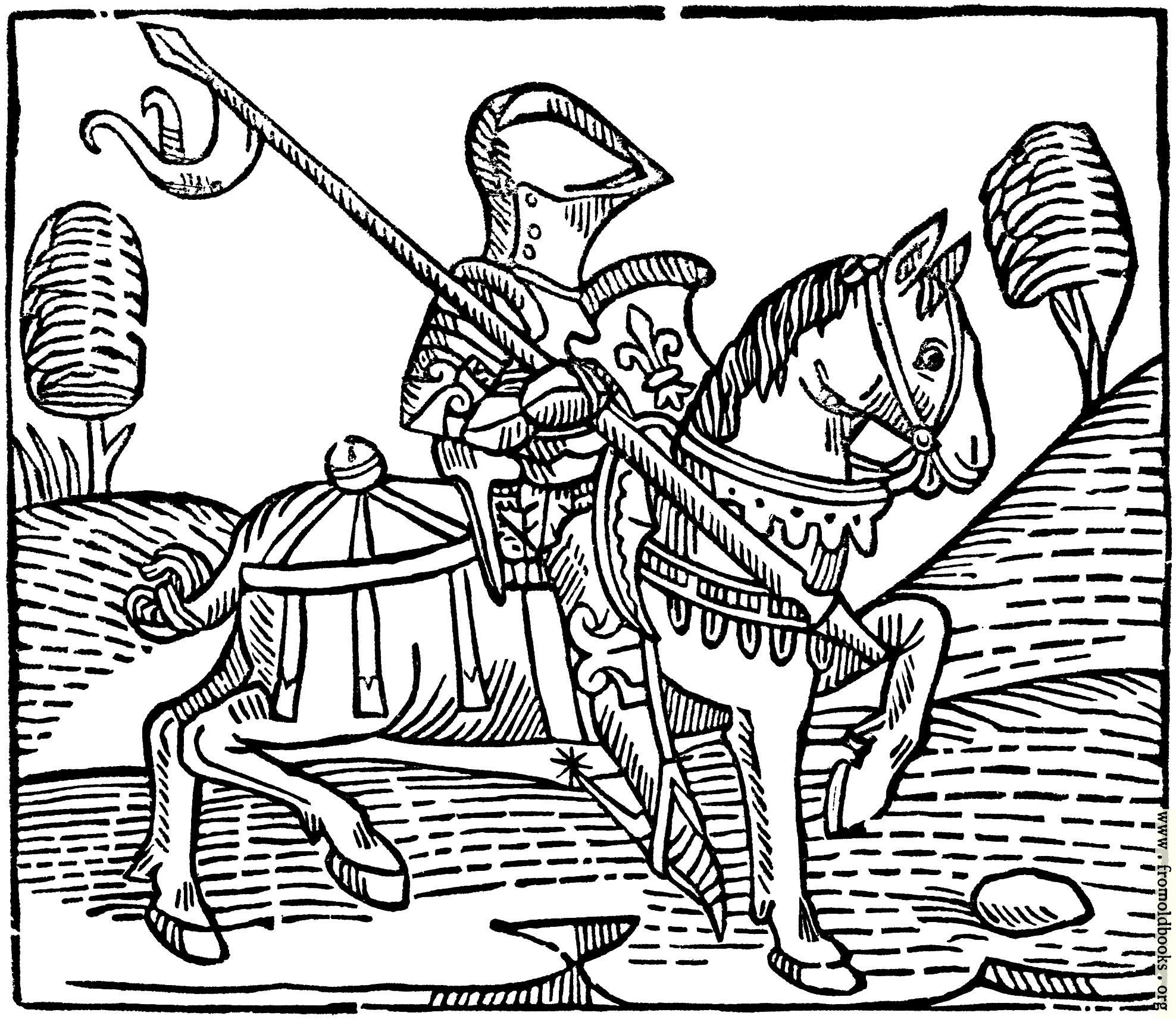 Wood Cut Of A Knight From Caxton S Game Of The