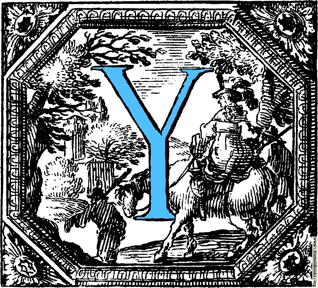 Historiated Decorative Initial Capital Letter Y In Blue