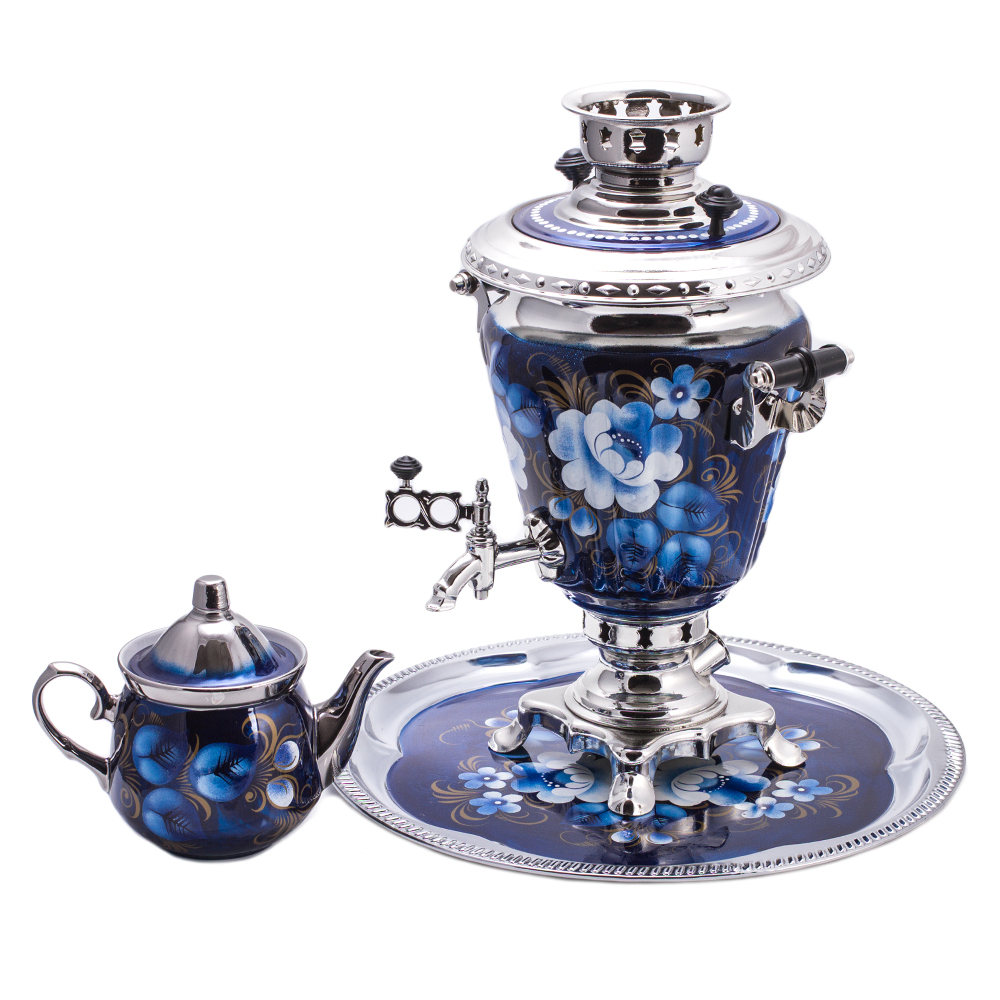 Zhostovo On Blue Electric Samovar Set With Tray Amp Teapot