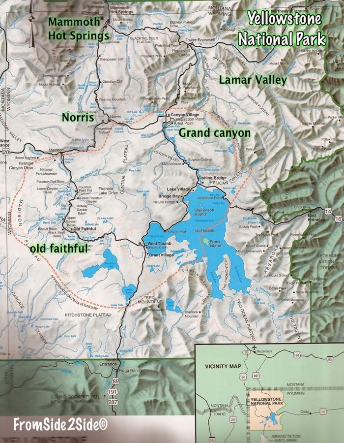 carte du Yellowstone National Park