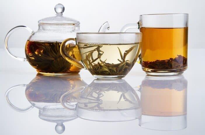 3 different varieties of tea in cups