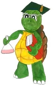 A wise tortoise carrying a book and a chemical beaker