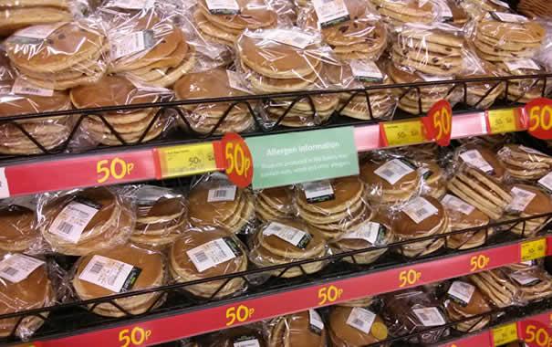 Tortitas ya preparadas a la venta en ASDA