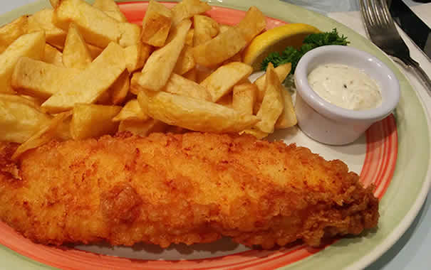Regular cod fish & chips  at Poppies London