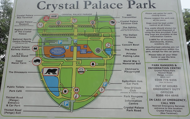 Crystal Palace London - mapa