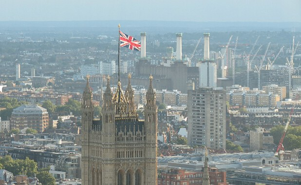 Houses of Parliament y Battersea Power station desde el London Eye