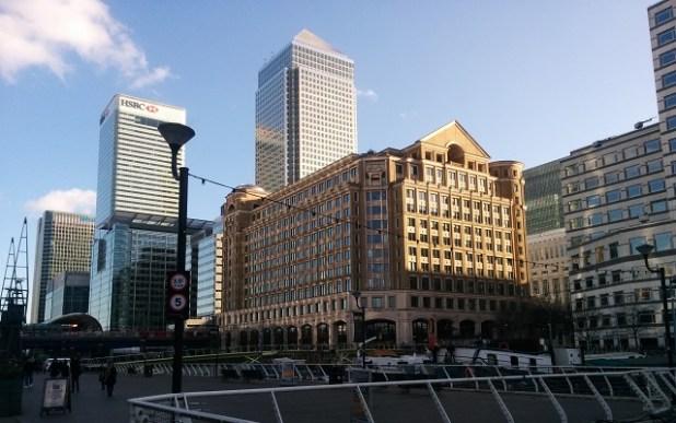 Vista de alguno de los edificios más emblemáticos de Canary Wharf