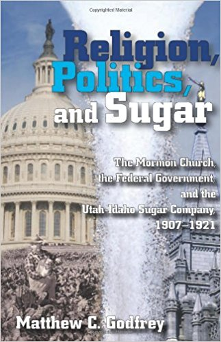 """An image of the book cover of """"Religion, Politics, and Sugar"""" by Matt Godfrey."""