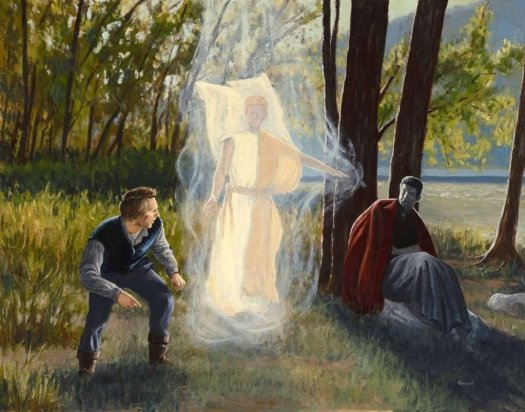 An Anthony Sweat painting depicting the angel Michael appearing to Joseph Smith on the banks of the Susquehanna River.