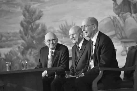 Dallin H. Oaks  at a press conference with the First Presidency.