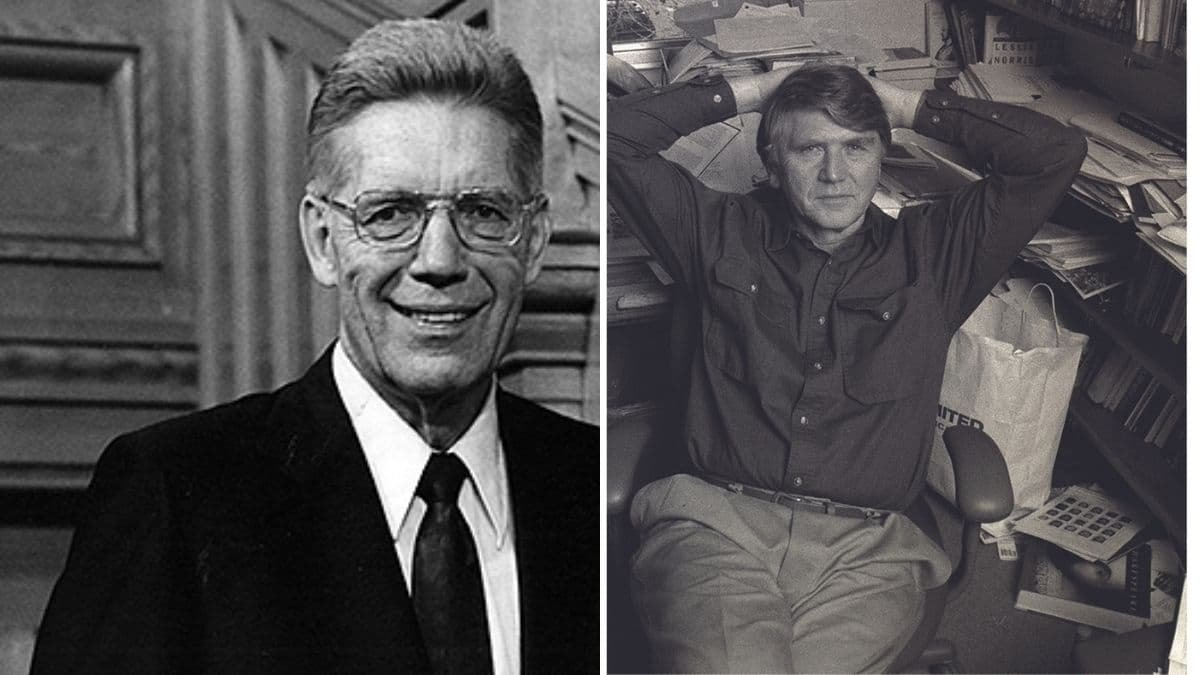 Side-by-side photos of Bruce R. McConkie and Eugene England