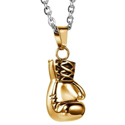 Gold boxing glove pendant necklace Miles Teller in Fight for This (2016)