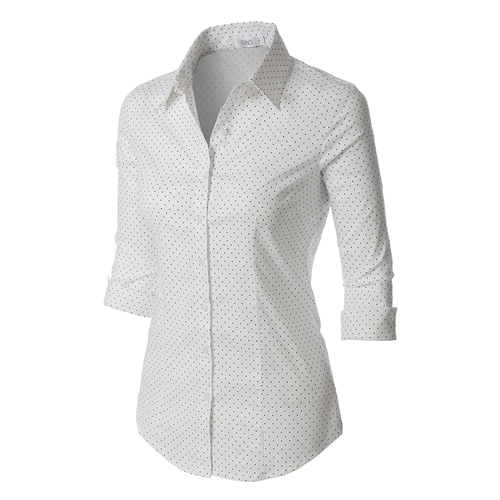 button down shirt white with black dots