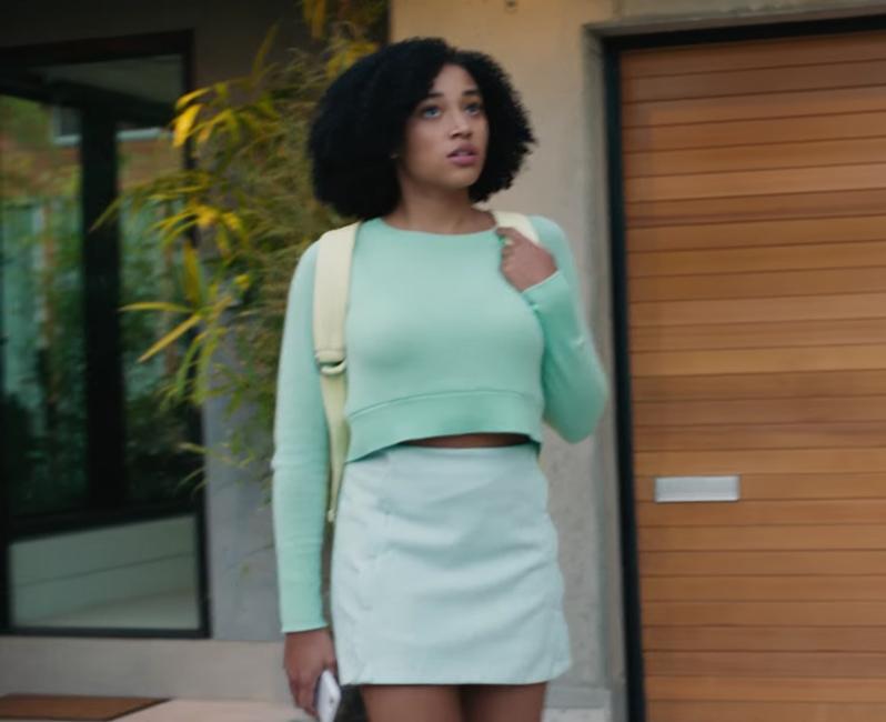 Mint green mini skirt Amandla Stenberg in Everything, Everything (2017)