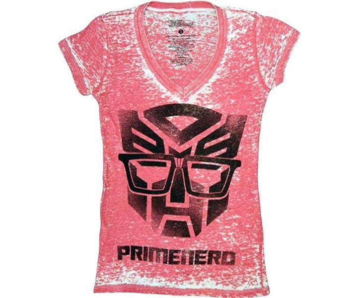 Transformers Primenerd Red V-Neck Juniors T-shirt