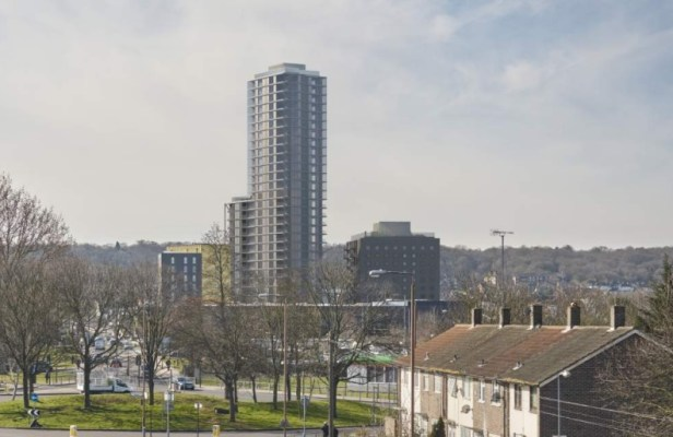 abbey wood tower from Thamesmead