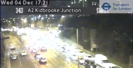 Accident closes A2 near Kidbrooke