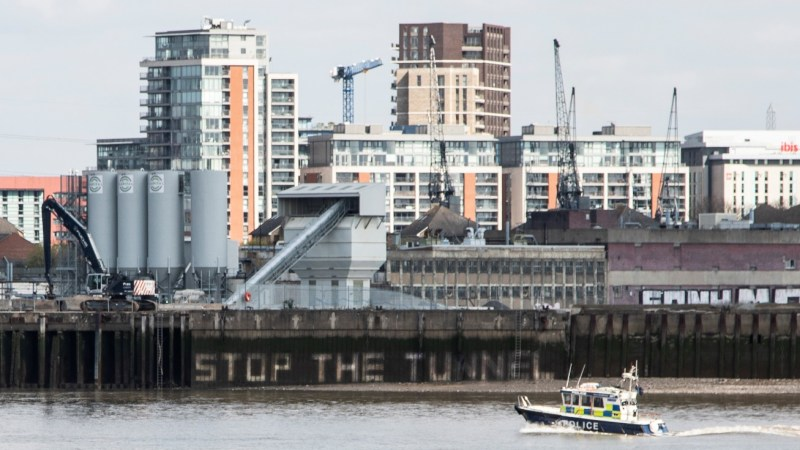 Silvertown Tunnel protesters spray on Thames embankment in protest