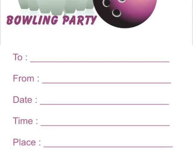 Pink Bowling Birthday Party Invitations