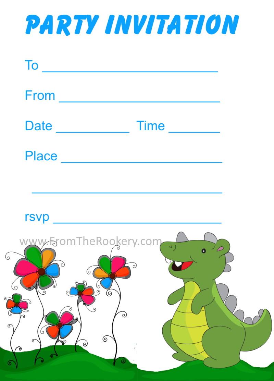 printable dinosaur birthday invitations