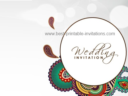 Indian Wedding Invitations Free Printable Card Template