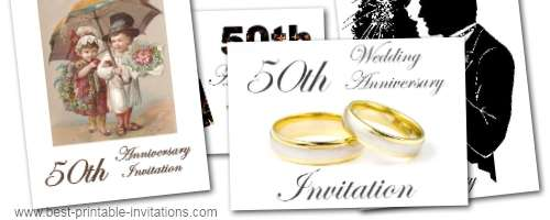 50th Wedding Anniversary Invitations Free Printable Templates
