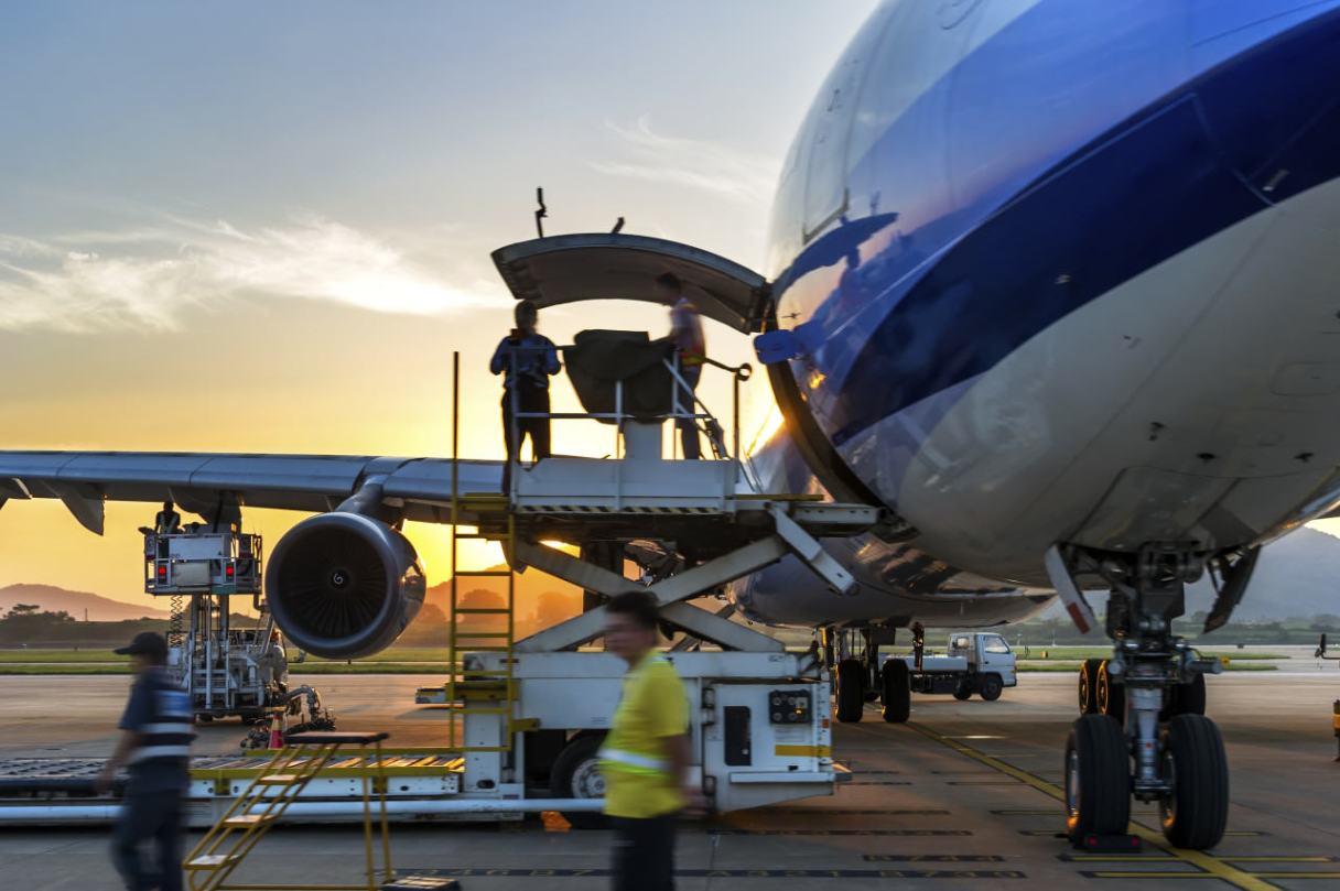 Airplane near terminal