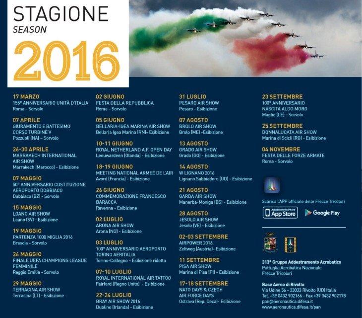 Frecce Tricolori 2016 - Calendario Esibizioni e Air Show