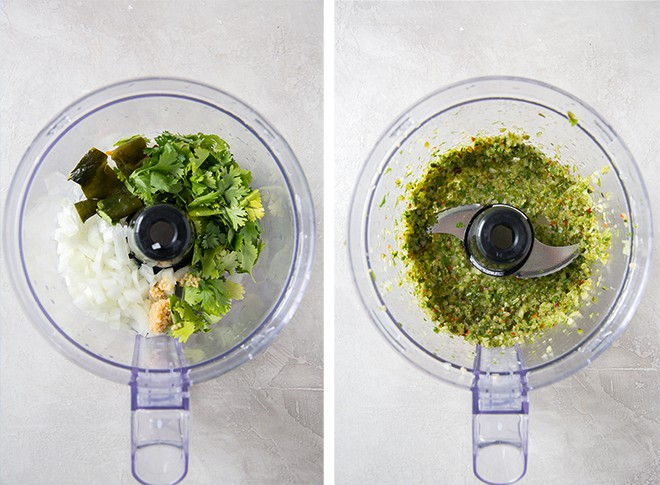 Process shots of ingredients in a food processor.