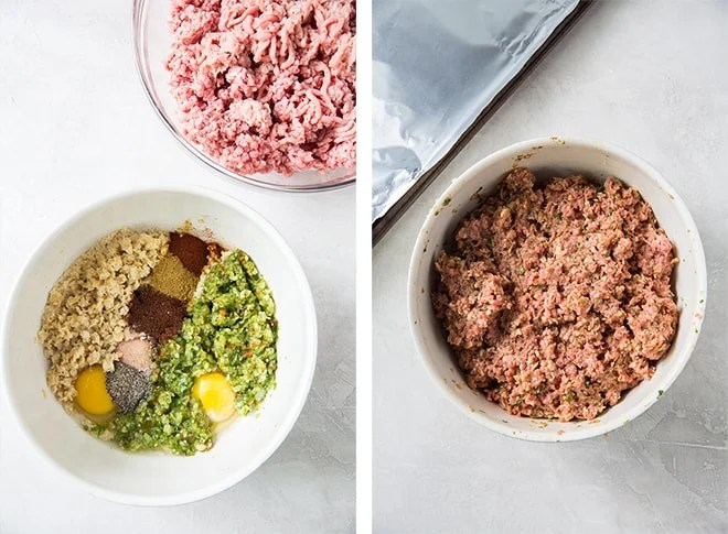 Process shots of the meatball mixture in a mixing bowl.