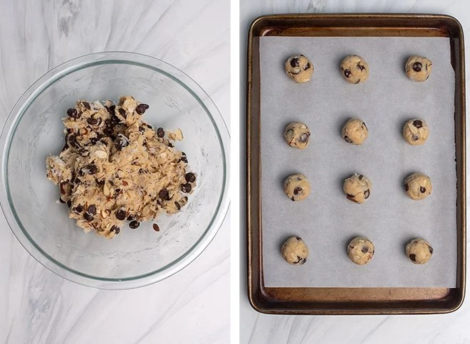 Two images showing the dough after is has been combined in the glass mixing bowl and rolled into balls and placed on a parchment paper lined baking sheet.