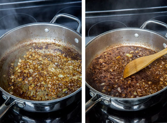 Two images showing the onions are garlic cooking in a pan and the wine, beef broth, Dijon, and Worcestershire are added.