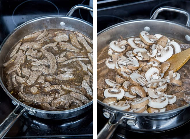 Two images showing the beef being added back to the sauce in the pan and the mushrooms are added.