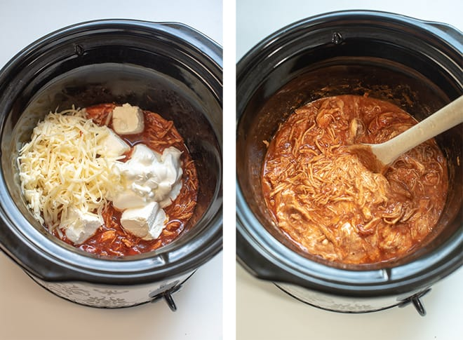 Two process images - cream cheese, sour cream, and pepper Jack cheese is added to the slow cooker. A wooden spoon stirs the mixture.