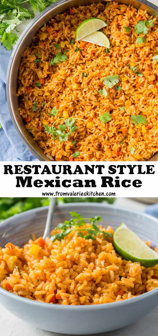 A two image vertical collage of Restaurant Style Mexican Rice with text overlay.