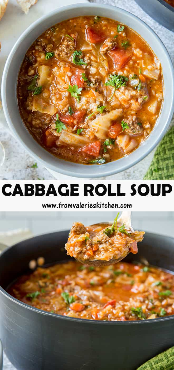 A two image vertical collage of Cabbage Roll Soup with overlay text.