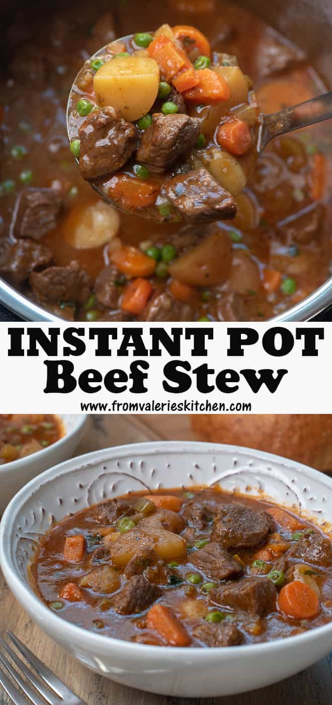 A vertical two image collage of Instant Pot Beef Stew