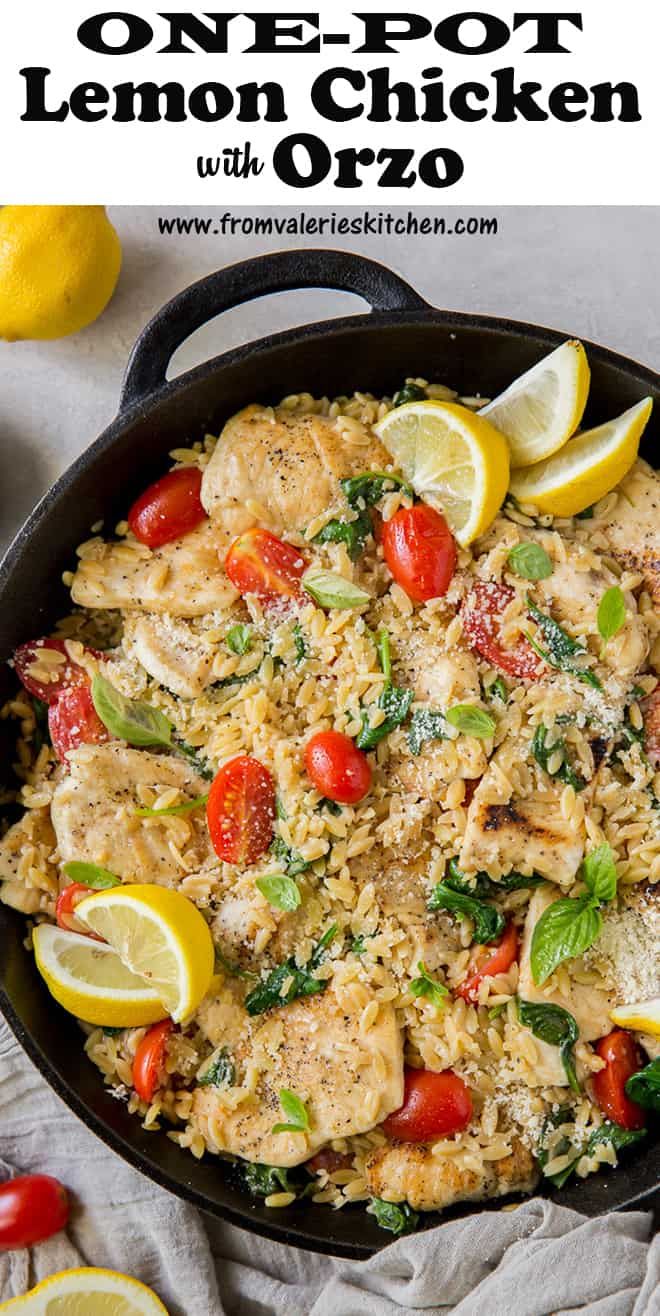 One-Pot Lemon Chicken with Orzo in a skillet shot from over the top with overlay text.